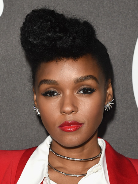 Janelle Monae Pompadour [red carpet,hair,face,hairstyle,lip,eyebrow,black hair,beauty,forehead,chin,s-curl,janelle monae,bouchon beverly hills,california,billboard power 100 celebration]