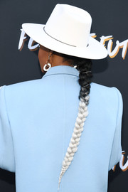 Janelle Monae rocked a two-tone braid at the Fem the Future brunch.