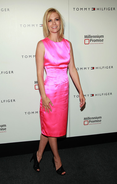 January Jones Cocktail Dress [dress,clothing,cocktail dress,pink,shoulder,hairstyle,fashion,premiere,footwear,fashion model,red carpet,tommy hilfiger celebrates fifth avenue global flagship opening]
