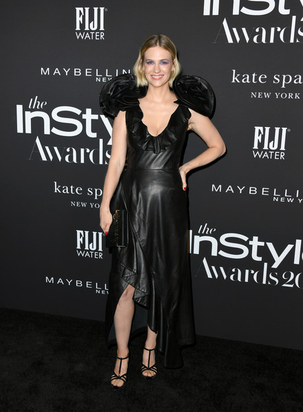 January Jones Leather Dress [dress,clothing,little black dress,fashion model,shoulder,fashion,carpet,premiere,latex clothing,cocktail dress,arrivals,january jones,instyle awards,fifth annual instyle awards,the getty center,los angeles,california]