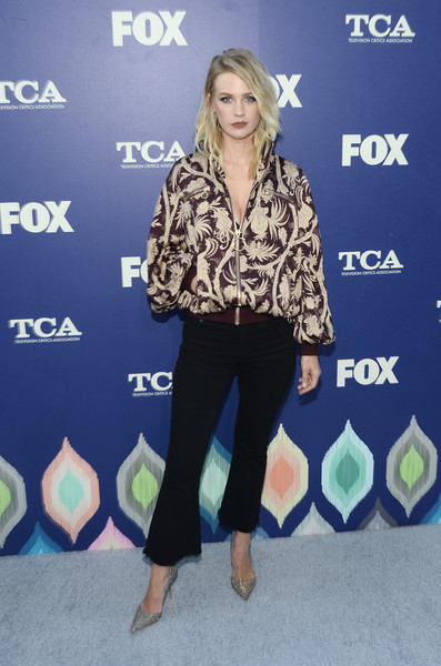 January Jones Bomber Jacket [clothing,fashion,hairstyle,footwear,blond,carpet,outerwear,long hair,electric blue,event,tour - arrivals,january jones,los angeles,california,fox summer tca press,fox summer tca press tour]
