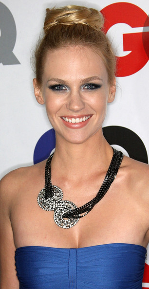 January Jones Black Statement Necklace [men of the year,hair,hairstyle,eyebrow,beauty,chin,blond,fashion accessory,jewellery,long hair,smile,party - arrivals,january jones,gq men of the year party,california,los angeles,chateau marmont hotel,gq]