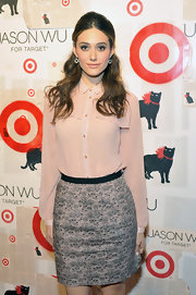 Emmy Rossum wore a pair of Cobblestones earrings in 18-carat noble gold with rock crystal and diamonds at the launch of Jason Wu for Target.