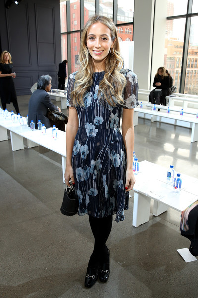 Harley Viera-Newton opted for a ladylike look with this blue floral frock when she attended the Jason Wu fashion show.