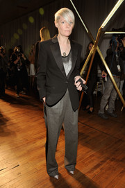 Kate Lanphear went for an androgynous vibe in a black tux jacket during the Jason Wu fashion show.