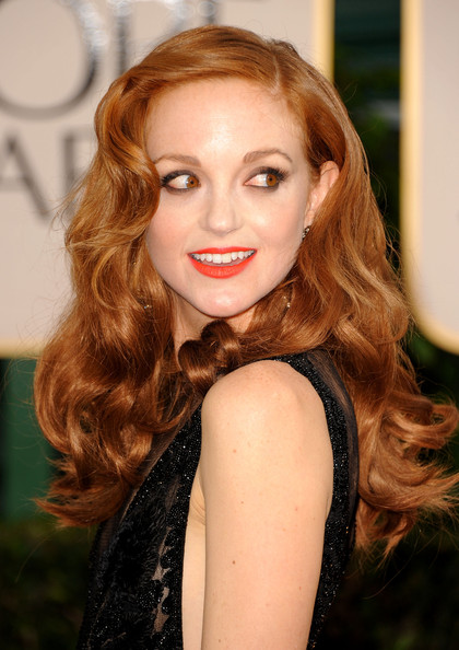 Jayma Mays Red Lipstick [hair,face,hairstyle,lip,long hair,beauty,eyebrow,brown hair,hair coloring,lady,arrivals,jayma mays,hotel,beverly hills,california,the beverly hilton,golden globe awards]