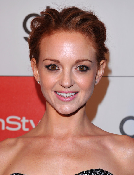 Jayma Mays Pinned Up Ringlets [20th century fox celebrate glee,hair,face,eyebrow,hairstyle,facial expression,chin,lip,skin,forehead,beauty,jayma mays,nominations,west hollywood,california,instyle,golden globe nominations,arriva,party,20th century fox]