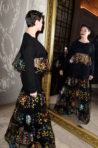 More Pics of Rose McGowan Fauxhawk (1 of 7) - Short Hairstyles Lookbook - StyleBistro [s/,clothing,fashion,dress,costume,sleeve,outerwear,kimono,fashion design,textile,pattern,jean paul gaultier,rose mcgowan,front row,part,paris,france,paris fashion week,haute couture spring]