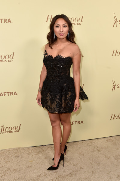 Jeannie Mai Lace Dress [the hollywood reporter,clothing,dress,cocktail dress,shoulder,little black dress,fashion model,hairstyle,fashion,strapless dress,leg,nominees,reporter,contenders,arrivals,contenders,jeannie mai,celebrate emmy award,hollywood,sag-aftra]