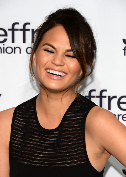More Pics of Chrissy Teigen Bobby Pinned Updo (3 of 7) - Chrissy Teigen Lookbook - StyleBistro
