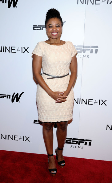 Jemele Hill Cocktail Dress [cocktail dress,clothing,shoulder,dress,fashion model,red carpet,joint,fashion,carpet,premiere,coach,jemele hill,venus vs,new york city,paley center for media,new york special screenings]