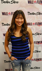 Jenna showcased her young and playful style in this navy-and-cobalt striped tank.