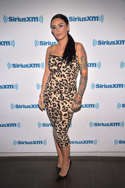 Jenni Farley Print Dress [clothing,shoulder,dress,fashion,cocktail dress,fashion model,hairstyle,yellow,fashion design,footwear,celebrities,jenni ``jwoww farley,new york city,siriusxm,siriusxm studios]