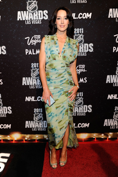 Jennifer Beals Print Dress [red carpet,flooring,fashion,carpet,fashion model,shoulder,dress,red carpet,fashion design,cocktail dress,jennifer beals,awards,palms casino resort,las vegas,nevada,nhl,nhl awards]