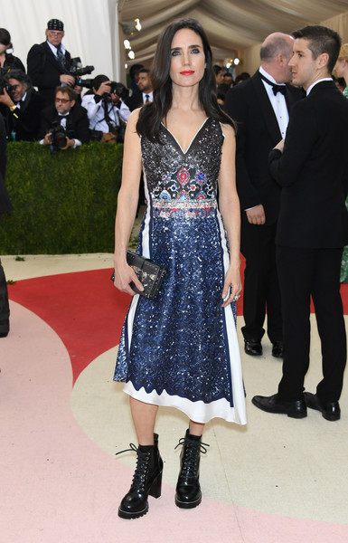 Jennifer Connelly Combat Boots [manus x machina: fashion in an age of technology costume institute gala - arrivals,manus x machina: fashion in an age of technology costume institute gala,clothing,dress,fashion,fashion model,carpet,haute couture,footwear,flooring,red carpet,event,jennifer connelly,new york city,metropolitan museum of art]