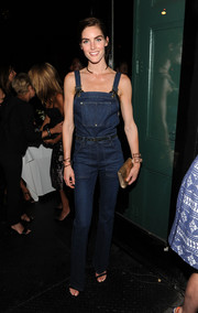 Hilary Rhoda made denim overalls look oh-so-sexy during the Jennifer Fisher NYC flagship store opening.