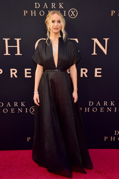 Jennifer Lawrence Evening Dress [red carpet,carpet,clothing,dress,flooring,premiere,fashion,a-line,formal wear,event,arrivals,jennifer lawrence,dark phoenix,california,hollywood,tcl chinese theatre,20th century fox,premiere,premiere]