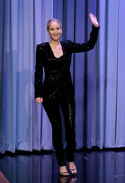 Jennifer Lawrence looked snazzy in a black sequin pantsuit by Sally LaPointe while visiting 'Jimmy Fallon.'