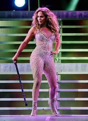 Jennifer Lopez finished off her super-sparkly stage outfit with what we thought was impossible—even shinier shoes.