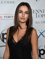 Camilla Belle wore her hair down in a layered cut during the launch of 'Jennifer Lopez: All I Have.'
