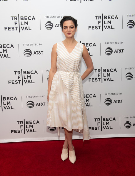Jenny Slate Ankle Boots [the alien apocalypse,dress,clothing,red carpet,fashion model,shoulder,cocktail dress,carpet,hairstyle,premiere,fashion,jenny slate,hints,suggestions,podcast/film experience: earth break,survival,tips,tribeca film festival,earth break,screening]