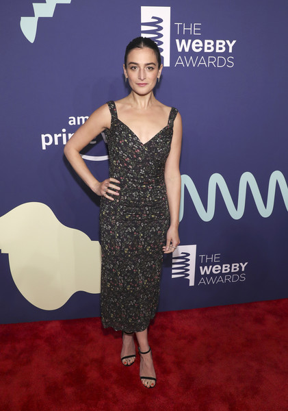 Jenny Slate Print Dress [jenny slate,dress,red carpet,clothing,carpet,cocktail dress,hairstyle,premiere,fashion,flooring,fashion model,webby awards,cipriani wall street,new york city]