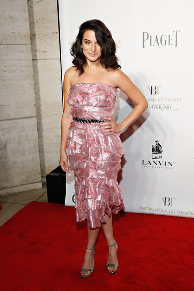 Jenny Slate Strapless Dress [jenny slate,dress,clothing,red carpet,shoulder,carpet,strapless dress,cocktail dress,premiere,fashion model,hairstyle,american ballet theatre opening night gala,american ballet theatre 2014 opening night fall gala,david h. koch theater,new york city,lincoln center]