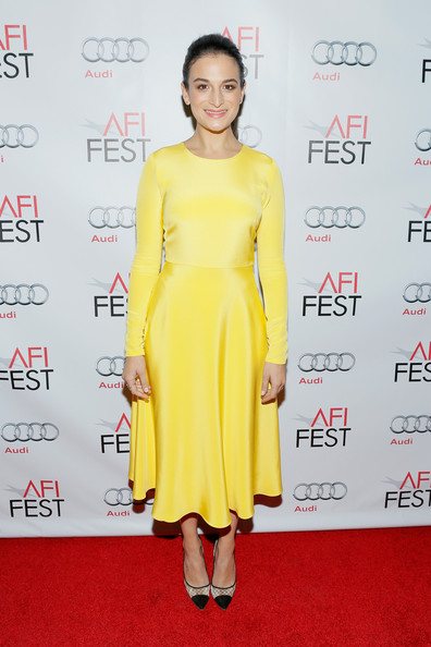 Jenny Slate Pumps [clothing,dress,yellow,fashion model,shoulder,red carpet,cocktail dress,carpet,fashion,joint,jenny slate,tcl chinese 6 theatres,hollywood,california,audi los angeles times,afi fest,young hollywood roundtable]