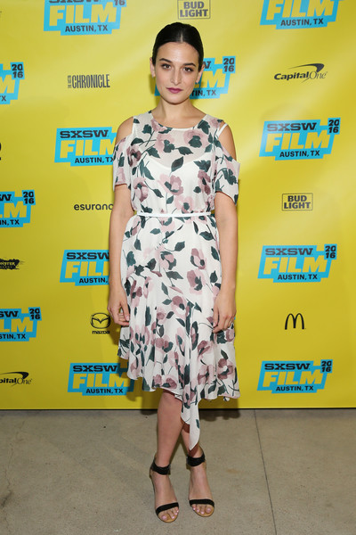 Jenny Slate Strappy Sandals [my blind brother,clothing,dress,fashion model,yellow,cocktail dress,fashion,shoulder,footwear,premiere,fashion design,jenny slate,zach,austin,texas,topfer theatre,sxsw music,film interactive festival,premiere]