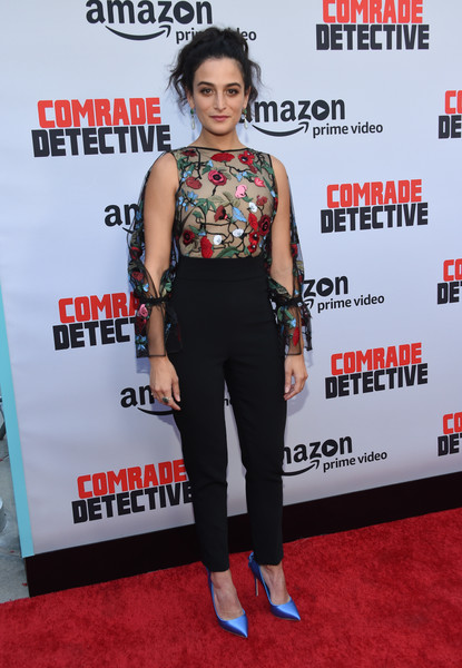 Jenny Slate Jumpsuit [photo,clothing,red carpet,carpet,premiere,shoulder,flooring,event,performance,arrivals,jenny slate,theatre,arclight,hollywood,comrade detective,amazon,premiere,premiere]
