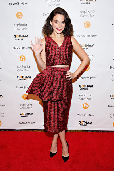 Jenny Slate Crop Top [clothing,dress,fashion model,red carpet,cocktail dress,carpet,premiere,fashion,flooring,waist,new york city,cipriani wall street,gotham independent film awards - arrivals,jenny slate]