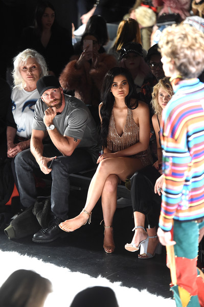 More Pics of Kylie Jenner Strappy Sandals (1 of 29) - Kylie Jenner Lookbook - StyleBistro [shows,the shows,people,event,audience,fashion,performance,crowd,human body,fun,leg,stage,jeremy scott,kylie jenner,debbie harry,front row,new york city,gallery 1,skylight clarkson sq,new york fashion week]
