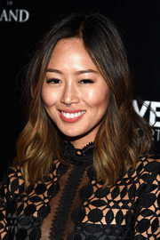 Aimee Song wore shoulder-length boho waves during the 'Jeremy Scott: The People's Designer' after-party.