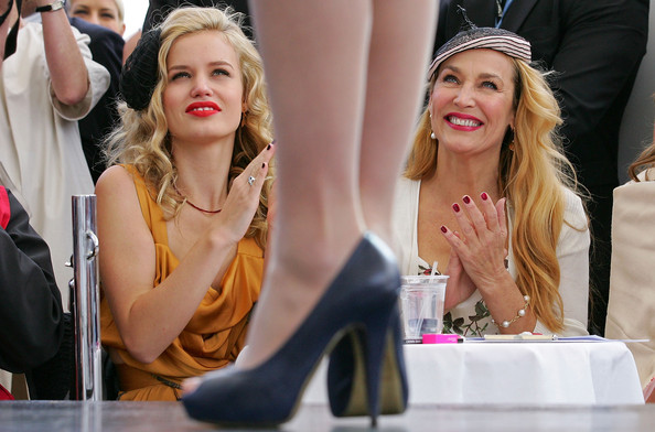 Jerry Hall Red Nail Polish [hair,lady,yellow,footwear,blond,fashion,beauty,hairstyle,high heels,headpiece,celebrities,georgia may jagger,mother,jerry hall,model,melbourne,australia,crown oaks,l,fashion parade]