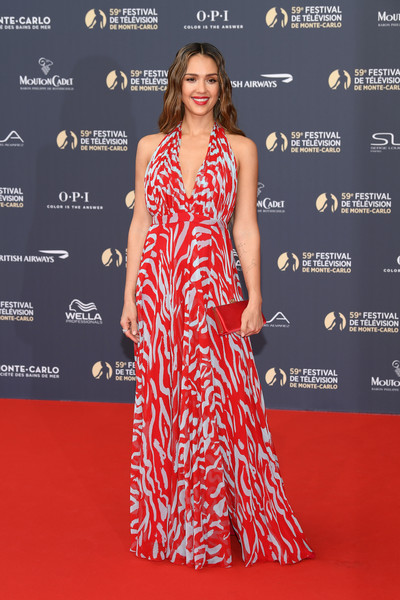 Jessica Alba Halter Dress [fashion model,clothing,dress,red carpet,carpet,premiere,red,fashion,shoulder,hairstyle,jessica alba,actor,red carpet,finest,fashion model,clothing,monte-carlo,monte carlo tv festival,opening ceremony,opening ceremony,jessica alba,monte-carlo television festival,l.a. s finest,annual event,celebrity,monte carlo,television,red carpet,friday june 14,actor]