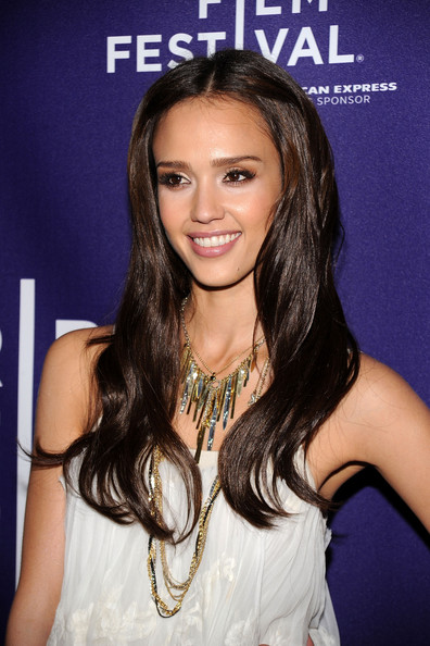 Jessica Alba Bronze Statement Necklace