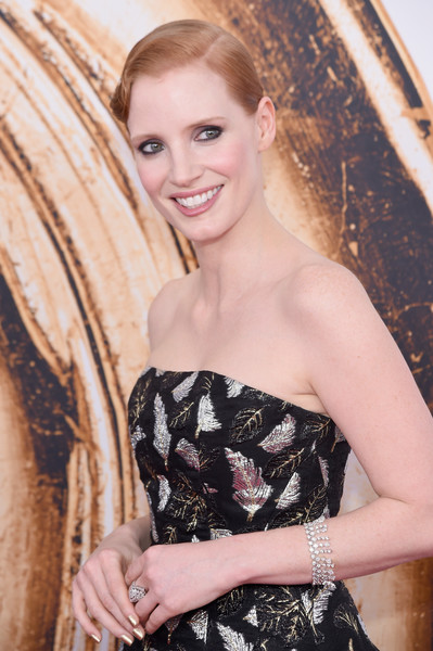 Jessica Chastain Diamond Bracelet [hair,face,clothing,beauty,dress,blond,hairstyle,fashion,yellow,long hair,arrivals,jessica chastain,hammerstein ballroom,new york city,cfda fashion awards]