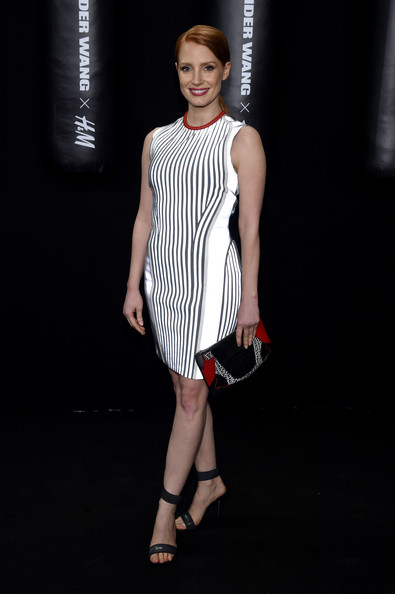 Jessica Chastain Printed Clutch [fashion model,clothing,fashion,white,dress,cocktail dress,fashion show,shoulder,fashion design,black-and-white,launch - arrivals,jessica chastain,new york city,alexander wang x,h m]