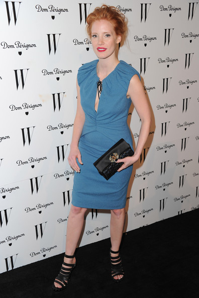 Jessica Chastain Satin Clutch [clothing,dress,hairstyle,shoulder,cocktail dress,fashion,fashion design,joint,footwear,electric blue,arrivals,jessica chastain,w magazine golden globe awards,west hollywood,california,party,party]