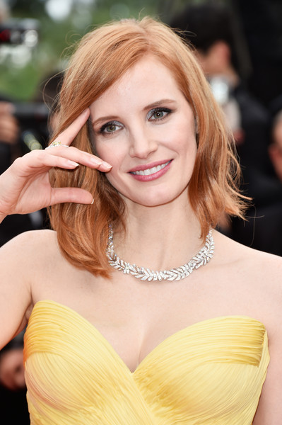 Jessica Chastain Diamond Collar Necklace [hair,face,hairstyle,blond,skin,shoulder,eyebrow,lip,beauty,long hair,jessica chastain,cannes,france,red carpet arrivals,cafe society,cafe society opening gala,cannes film festival,premiere,opening night gala,palais des festivals]