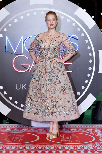 Jessica Chastain Embroidered Dress [photo,flooring,fashion model,fashion,catwalk,carpet,red carpet,haute couture,fashion design,red carpet arrivals,jessica chastain,mollys game uk,caption,vue west end,london,getty images,premiere,premiere]