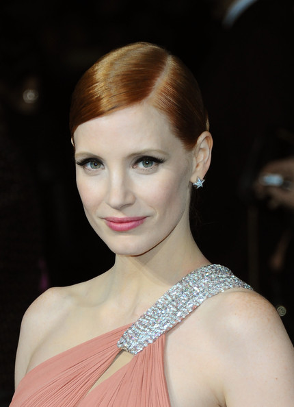 Jessica Chastain Diamond Studs [hair,face,hairstyle,eyebrow,lip,beauty,chin,fashion,shoulder,skin,red carpet arrivals,jessica chastain,interstellar,european,england,london,odeon leicester square,premiere,premiere]