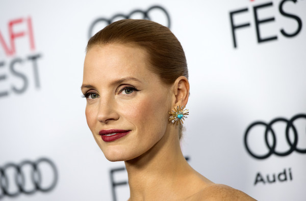 Jessica Chastain Gemstone Studs [hair,face,eyebrow,hairstyle,lip,skin,forehead,chin,ear,beauty,red carpet,jessica chastain,audi - premiere,valerie macon,miss sloane,usa,europacorp,afp,afi fest 2016,premiere]