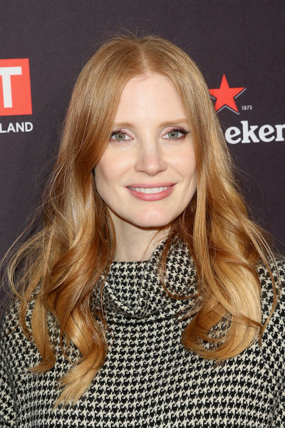 Jessica Chastain Long Wavy Cut [hair,blond,human hair color,beauty,eyebrow,hairstyle,chin,long hair,fashion model,layered hair,arrivals,jessica chastain,los angeles,four seasons hotel,california,beverly hills,bafta,tea party]