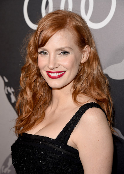 Jessica Chastain Red Lipstick [hair,hairstyle,face,lip,blond,eyebrow,long hair,beauty,brown hair,chin,arrivals,jessica chastain,california,los angeles,cecconis restaurant,audi celebrates golden globes]