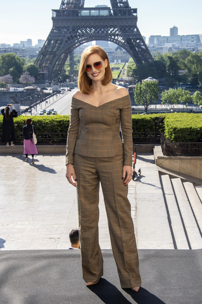 Jessica Chastain Print Pants [clothing,street fashion,fashion,shoulder,brown,standing,dress,pantsuit,footwear,trousers,photocall at cafe de lhomme,x-men dark phoenix,paris,france,jessica chastain]