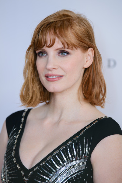 Jessica Chastain Short Wavy Cut [x-men: dark phoenix,fan event photocall,hair,hairstyle,blond,face,shoulder,beauty,eyebrow,chin,bangs,brown hair,jessica chastain,london,england,picturehouse central,fan event]