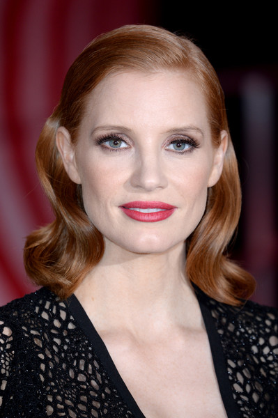 Jessica Chastain Medium Wavy Cut [it chapter two,hair,face,lip,hairstyle,eyebrow,blond,beauty,chin,skin,cheek,vip arrivals,jessica chastain,european,england,london,the vaults,premiere,it chapter two european premiere,jessica chastain,it chapter two,image,photograph,passi de preposulo,blog,stock photography,actor,livingly media]