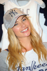 Jessica Hart modeled the new Yankees collection for Victoria's Secret, featuring this sequined cap.