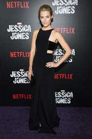 Rachael Taylor rocked a sexy black cut-out dress with a floor-skimming train and bandeau top at the 'Jessica Jones' series premiere.